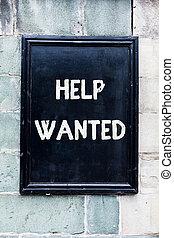 concept, woord, helpen, zakelijk, tekst, schrijvende , papier, plaatsen, employee., nieuw, werkgever, vinden, wanted., advertentie