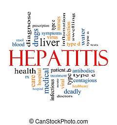 concept, woord, hepatitis, wolk