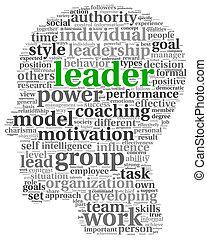 concept, woord, leider, wolk, label