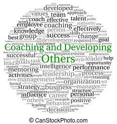 concept, woord, ontwikkelen, coachend, label, wolk