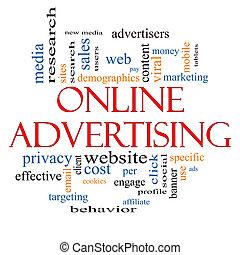 concept, woord, reclame, wolk, online
