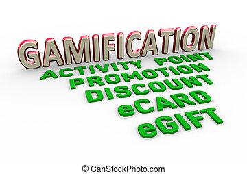concept, woord, tekst, gamification, ontwerp, 3d