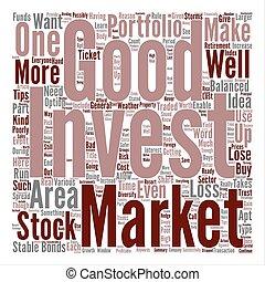 concept, woord, tekst, maken, goed, hoe, achtergrond, gebrengenen in evenwicht portfolio, investering, wolk