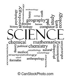 concept, woord, wetenschap, black , witte wolk
