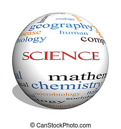 concept, woord, wetenschap, bol, wolk, 3d