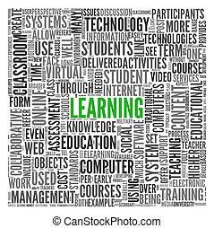 concept, woord, wolk, leren, label