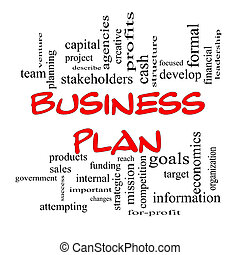 concept, woord, zakelijk, beslag, plan, wolk, rood