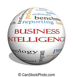 concept, woord, zakelijk, intelligentie, bol, wolk, 3d