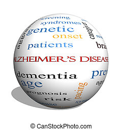 concept, woord, ziekte van alzheimer, bol, wolk, 3d