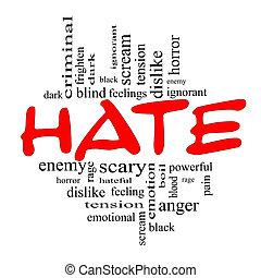 concept, woord, zwarte wolk, haat, rood