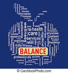 concept, wordcloud, équilibre, pomme, healthcare