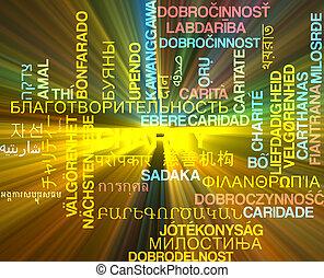 concept, wordcloud, incandescent, multilanguage, fond, charité