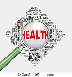 concept, wordcloud, santé, healthcare, loupe, 3d