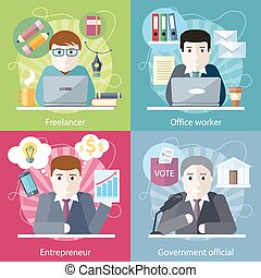 Set of concept work employed freelancer. Government official, office worker, employment and entrepreneur, business job, career and entrepreneurship, workspace in flat design