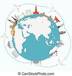 concept, world., autour de, voyager