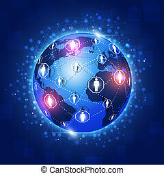Concept World Connections Blue Background