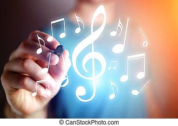 concept, -, writting, musique, appareil, technologie