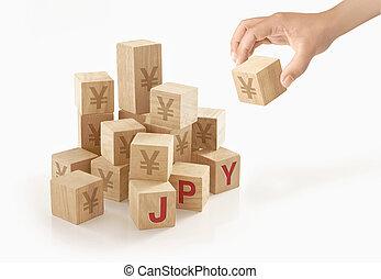 concept, yen, argent, japonaise, isolé, arrière-plan.