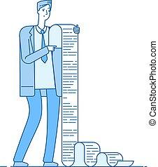 concept, zakelijk, belasting, lijst, verward, lang, papier, vector, man, zakenman, list., professioneel, probleem, lezende , document., faillissement