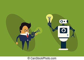 concept, zakelijk, geven, licht, idee, kunstmatig, robot, intelligentie, nieuw, creatief, bol, man