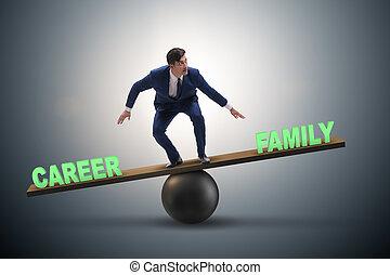 concept, zakelijk, gezin, carrière, het in evenwicht brengen, tussen, zakenman