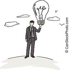 concept, zakelijk, groot, lijnen, vrijstaand, illustratie, idee, achtergrond., vector, black , vasthouden, zakenman, bol, witte