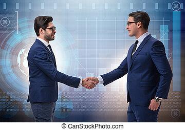concept, zakelijk, hand, zakenlieden, samenwerking, rillend