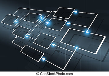 concept, zakelijk, informatiestroomschema