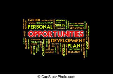 concept, zakelijk, kansen, bewoording