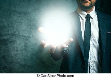 concept, zakelijk, licht, hand houdend, zakenman, visie