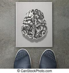 concept, zakelijk, metaal, voetjes, hersenen, menselijk, voorkant, pictogram, 3d, man