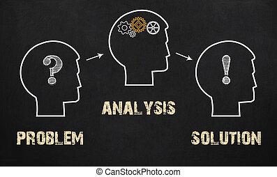 concept, zakelijk, -, oplossing, analyse, probleem, chalkboard