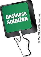 concept, zakelijk, oplossing, computer, key., toetsenbord