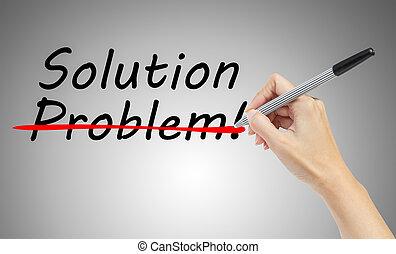 concept, zakelijk, oplossing, hand, kruising, bevinding, probleem, tekening, uit