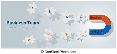 concept, zakelijk, raadsel, jigsaw, magneet, achtergrond, team, het bekoren