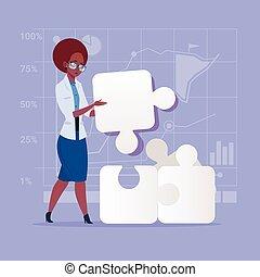 concept, zakelijk, raadsel, oplossing, amerikaanse vrouw, oplossen, afrikaan