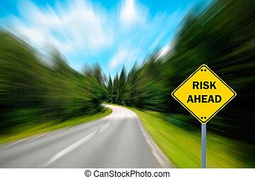 "concept, zakelijk, ""risk, -, ahead"", meldingsbord"
