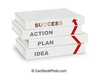 concept, zakelijk, succes, plan, vrijstaand, idee, richtingwijzer, boekjes , steegjes, bedekt, stapel, witte