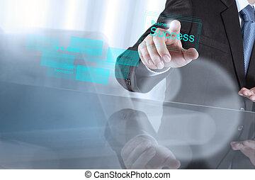 concept, zakelijk, succes, tabel, feitelijk, hand, zakenman, optredens