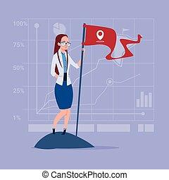 concept, zakelijk, succesvolle , vlag, vrouw, houden, prestatie
