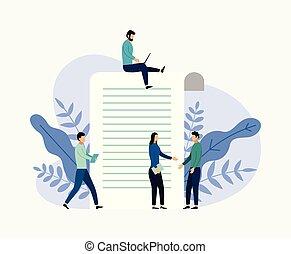 concept, zakelijk, vragenlijst, illustratie, rapport, vector, onderzoeken; inspecteren;, online