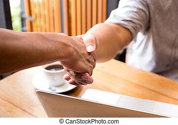 concept, zakenlui, succesvolle , hand, handen te schudden