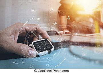 concept, zakenman,  brainstrom, Kantoor,  tablet, beweeglijk, draagbare computer, moderne, feitelijk,  diagram, Telefoon,  Computer,  Teamwork, digitale, Gebruik, vergadering, pictogram
