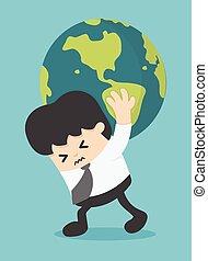 concept, zakenman, globe, verdragend