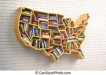 concept., zamluvit, mapa, usa, kniha, nebo, police, obchod, školství, usa.