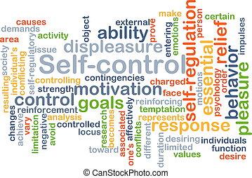 concept, zelf-controle, achtergrond