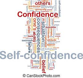 concept, zelfvertrouwen, been, achtergrond