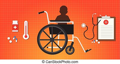 concept, zetten, cerebraal, wheelchair, verlamming, baby, ...