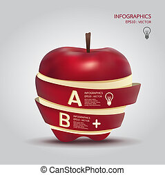 concept, zijn, gebruikt, appel, illustratie, creatief, vector, /, mal, infographics, banieren, spandoek, groenteblik