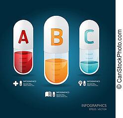 concept, zijn, gebruikt, illustratie, creatief, capsule, vector, /, mal, infographics, banieren, spandoek, groenteblik